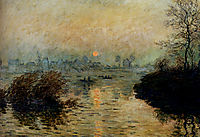 Sun Setting over the Seine at Lavacourt. Winter Effect, 1880, monet