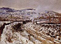 Train in the Snow at Argenteuil , 1875, monet