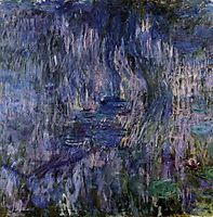 Water Lilies, Reflection of a Weeping Willows, 1919, monet