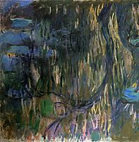 Water Lilies, Reflections of Weeping Willows (left half), 1919, monet