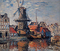 Windmill on the Onbekende Canal, Amsterdam, 1874, monet