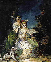Young Girls and Dog in a Park, monticelli