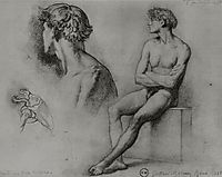 Male nude and other studies, 1858, moreau