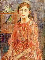 The Artist-s Daughter with a Parakeet, 1890, morisot
