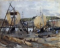 Boats under Construction, 1874, morisot