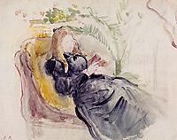 Julie Manet, Reading in a Chaise Lounge, 1890, morisot