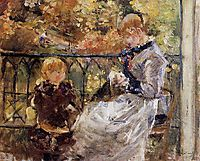 On the Balcony of Eugene Manet-s Room at Bougival, 1881, morisot