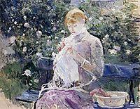 Pasie sewing in Bougival-s Garden, 1881, morisot