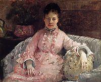Portrait of a Woman in a pink dress, c.1870, morisot