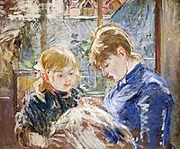 The Sewing Lesson (aka The Artist-s Daughter, Julie, with Her Nanny), 1884, morisot