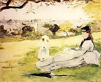 Woman and Child Seated in a Meadow, 1871, morisot