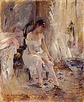 Young Girl Putting on Her Stockings , morisot