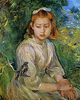 Young Girl with a Bird, 1891, morisot