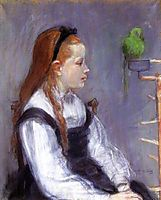 Young Girl with a Parrot, c.1873, morisot