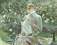 Young Woman Sewing in a Garden, 1881, morisot