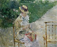 Young Woman Sewing in the Garden, 1883, morisot