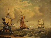 English and French Fishing Boats off Yarmouth, morland