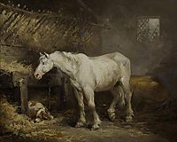 Horse and Dog in a Stable, 1791, morland