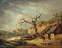 Lake Scene and a Cottage, 1790, morland
