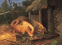 Pigs at a Trough, morland
