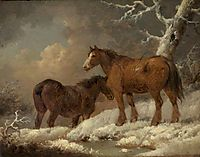 Two Horses in the Snow, morland