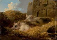 Two Pigs in Straw (Barn with Pigs), morland