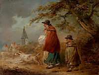 Woman, Child and Dog on a Road, morland
