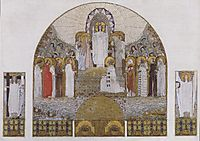Am Steinhof Church, mosaic design for the main altar, 1905, moser