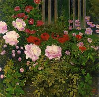 Blooming Flowers with Garden Fence, moser