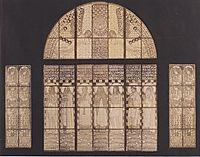 Church Am Steinhof, drawing of western window , moser