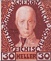 Design for the anniversary stamp with Austrian Emperor Francis I, 1908, moser