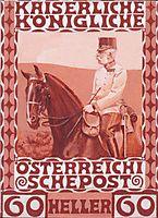 Design of the anniversary stamp with Austrian Franz Joseph I. on horseback, 1908, moser