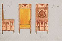 Draft drawings for the breakfast room of the apartment Eisler Terramare High Chair, 1903, moser