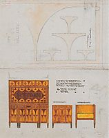 Draft drawings for the breakfast room of the apartment Eisler Terramare, ladies desk chair with retractable, 1903, moser