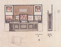 Draft for the space of ​​the Austrian State Printing House on show in London, 1906, moser