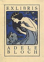 Exlibris Adele Bloch - Bookplate with princess and frog, c.1905, moser