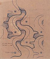 Fabric design with moving waves for Backhausen, 1902, moser