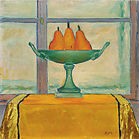 Fruit bowl with three red and yellow pears, moser