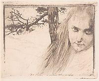 Girl in Landscape, 1898, moser
