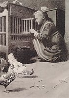 Girls in henhouse, 1897, moser