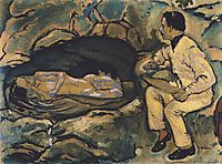 Self-Portrait with mermaid, 1914, moser