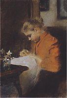 Leopoldine Steindl-Moser, eine Schwester des Künstlers, nähend, c.1895, moser