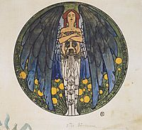 The sketch of the round window art, 1897, moser