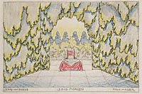 Stage design for -Jeep from the mountain- of Louis Holzberg, stage 2 - Morning, c.1912, moser