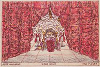 Stage design for -Jeep from the mountain- of Louis Holzberg, stage 2 - Night, c.1912, moser