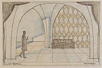 Stage design for -The minutes of love- by Edward Bauersfeld, c.1908, moser