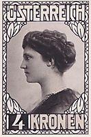 Stamp Design Empress Zita (not accepted), 1917, moser