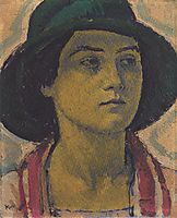 Young woman with hat, c.1913, moser