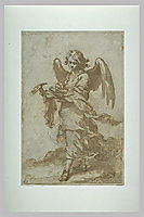 Angel holding a hammer and nails, 1660, murillo