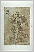 Angel holding the spear and sponge holder, 1660, murillo